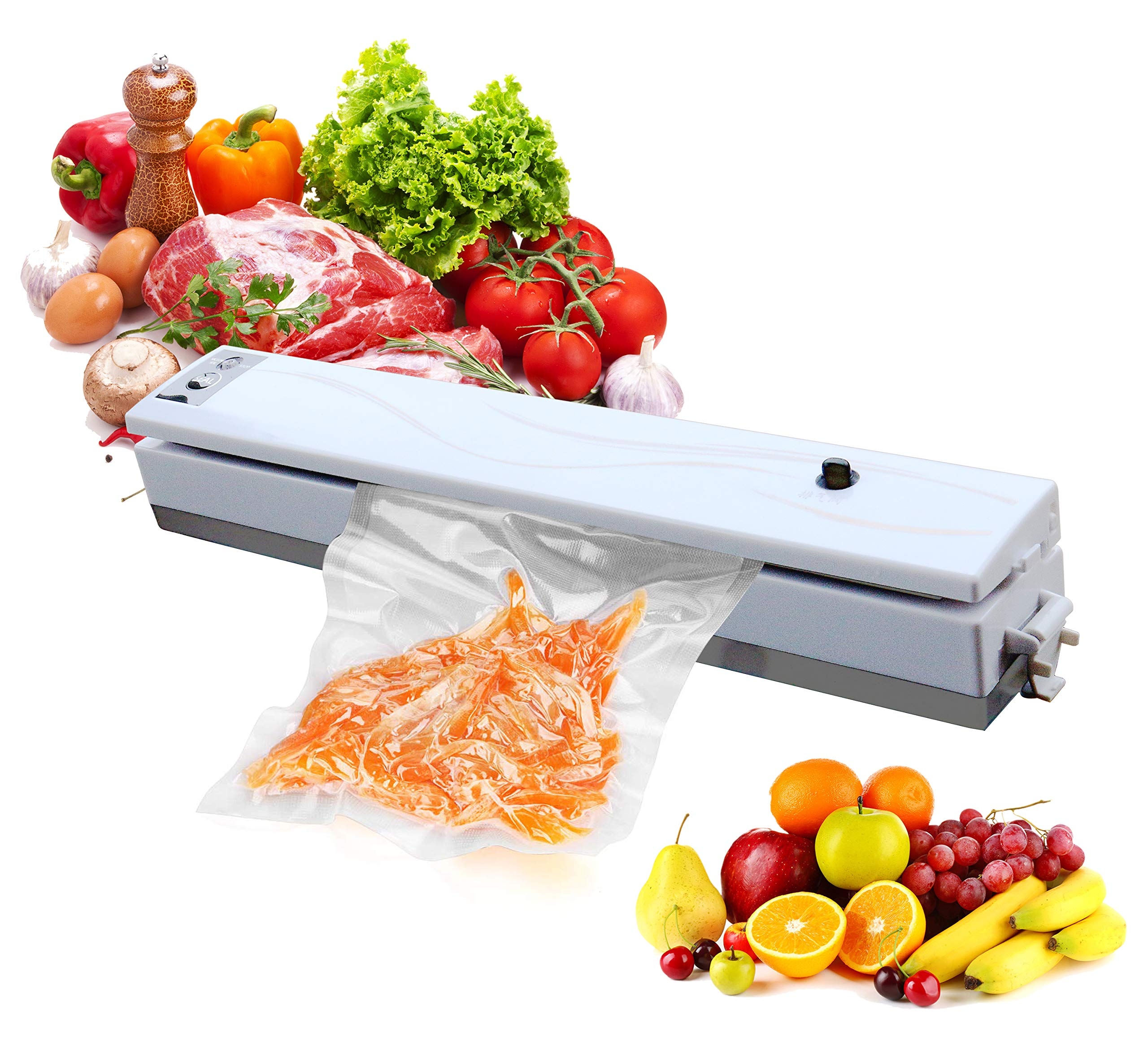 Vacuum Sealer, FIGROL Food Sealer Machines One-button Vacuum Sealing System for Household Commercial Use of Food Preservation with Gift Vacuum Bag by FIGROL