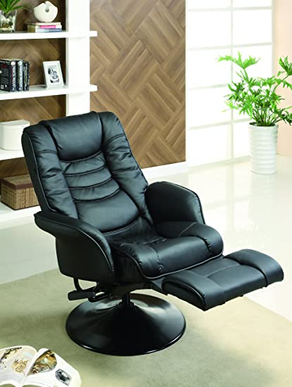 Beau Coaster Casual Black Faux Leather Swivel Recliner