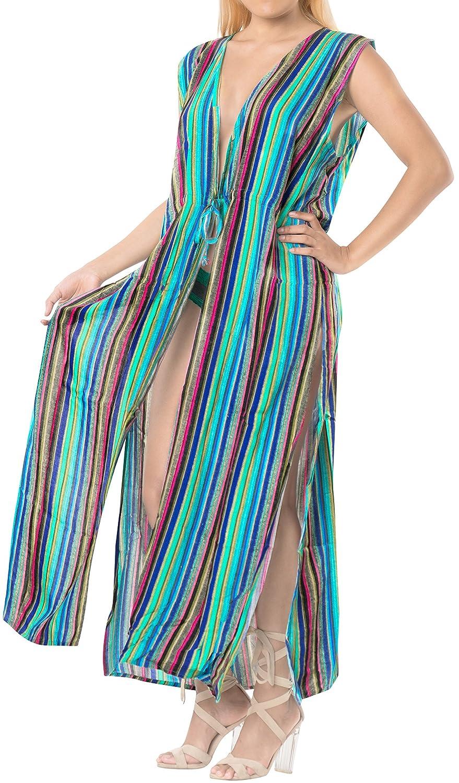 TALLA ES TAMAÑO: 42 (L) - 46 (XL). LA LEELA rayón Kimono Largo Impreso Beach Cover Up para Mujer Suelta Ropa de Playa Encubrimiento de baño Bikini Vestido para la Playa, un tamaño