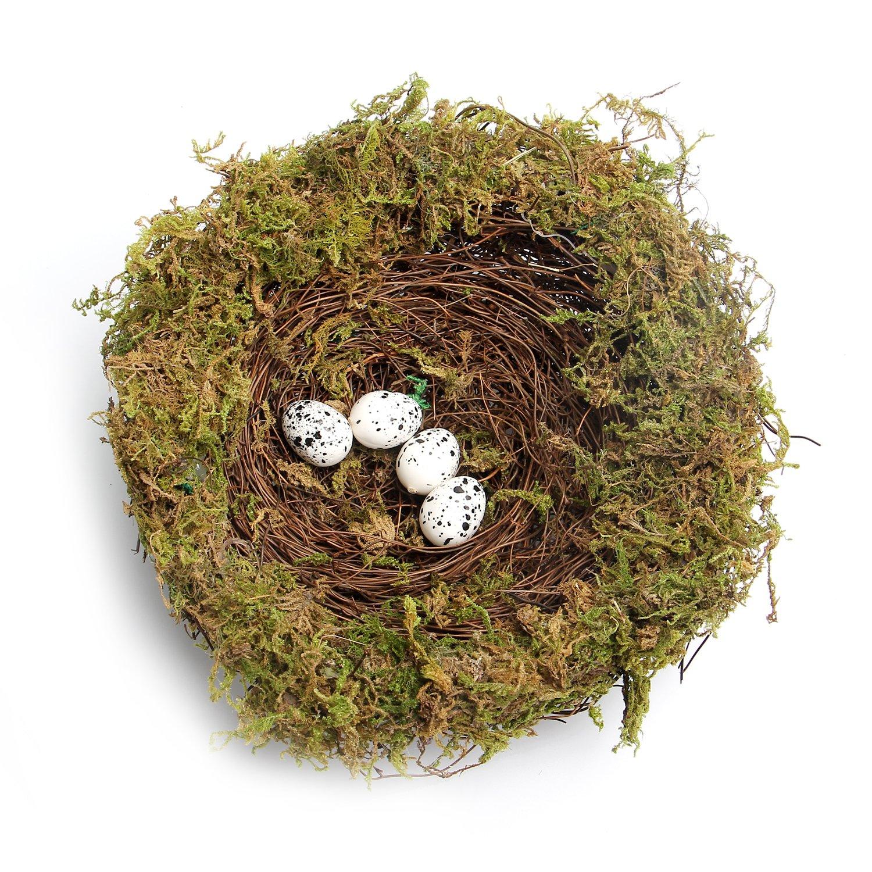 MomokoPeng Set of 2 Spring Bird Nests With Eggs,Twig Bird Nest Decorative Ornament With Clip(Green Bird's Nest) by MomokoPeng (Image #4)
