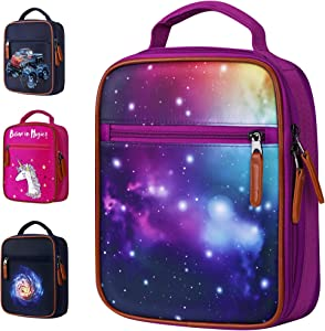 Galaxy Kids Lunch Box Insulated - Easy to Clean and Safe to Use Lunch Bag for Girls, Thermal Soft Perfect for Packing Hot or Cold Food, Perfect Size for School, Preschool, Kindergarten or Elementary
