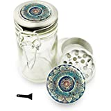 """Mandala 1.5"""" Herb Grinder and Glass Jar Combo! 4 Part Aluminum Grinder & Wire Top Glass Stash Jar for Herbs Spice Herbal w/ Free Jar Labels Cute Blue"""