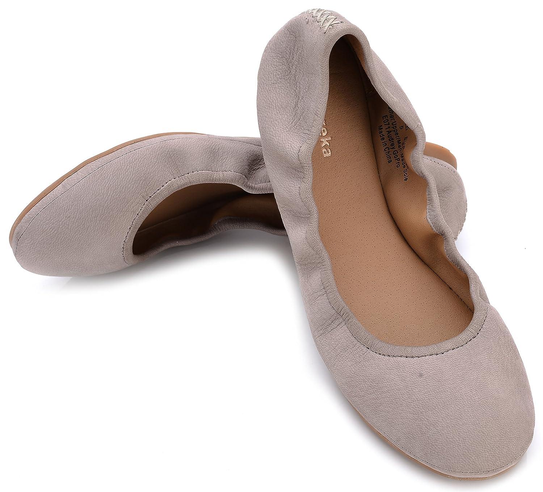 Eureka USA Women's Audrey Leather Ballet Flat B074V288J3 8 B(M) US|917 Sky Grey