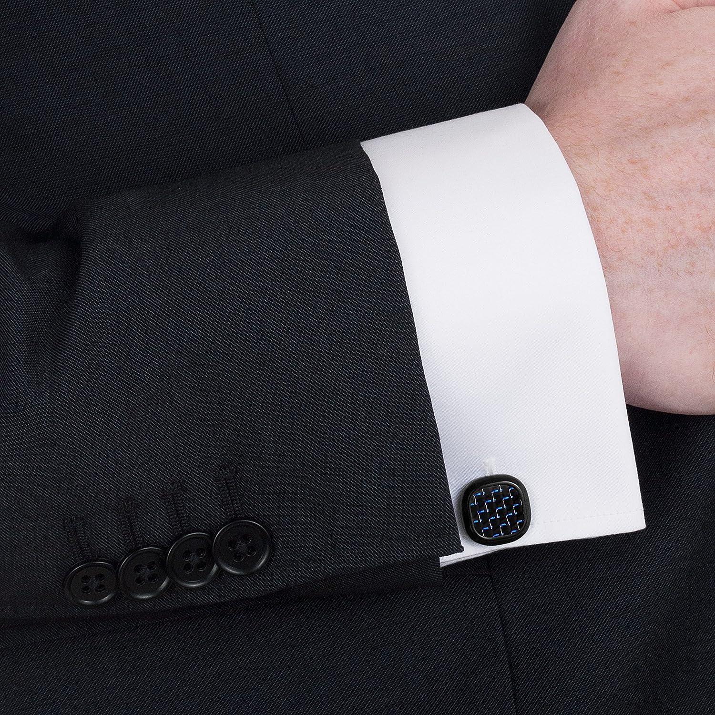 Willis Judd Mens Carbon Fiber Black Stainless Steel Cufflinks in Gift Pouch