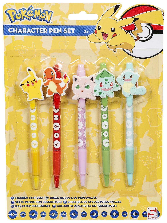 Set di 5penne con personaggi Pokemon