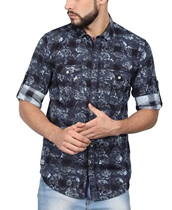 c3e98910c57 NORTH REPUBLIC Men s Printed Denim Full Sleeves Slim Fit Casual Shirt (Blue    Medium)