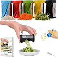 Kitofin Vegetable Spiral Slicer Spiralizer - Carrot Cucumber Zucchini Pasta Noodles Spaghetti Maker - Vegetable Peeler Cutter - Includes Garlic Peeler - Cleaning Brush - Recipes E-Book.