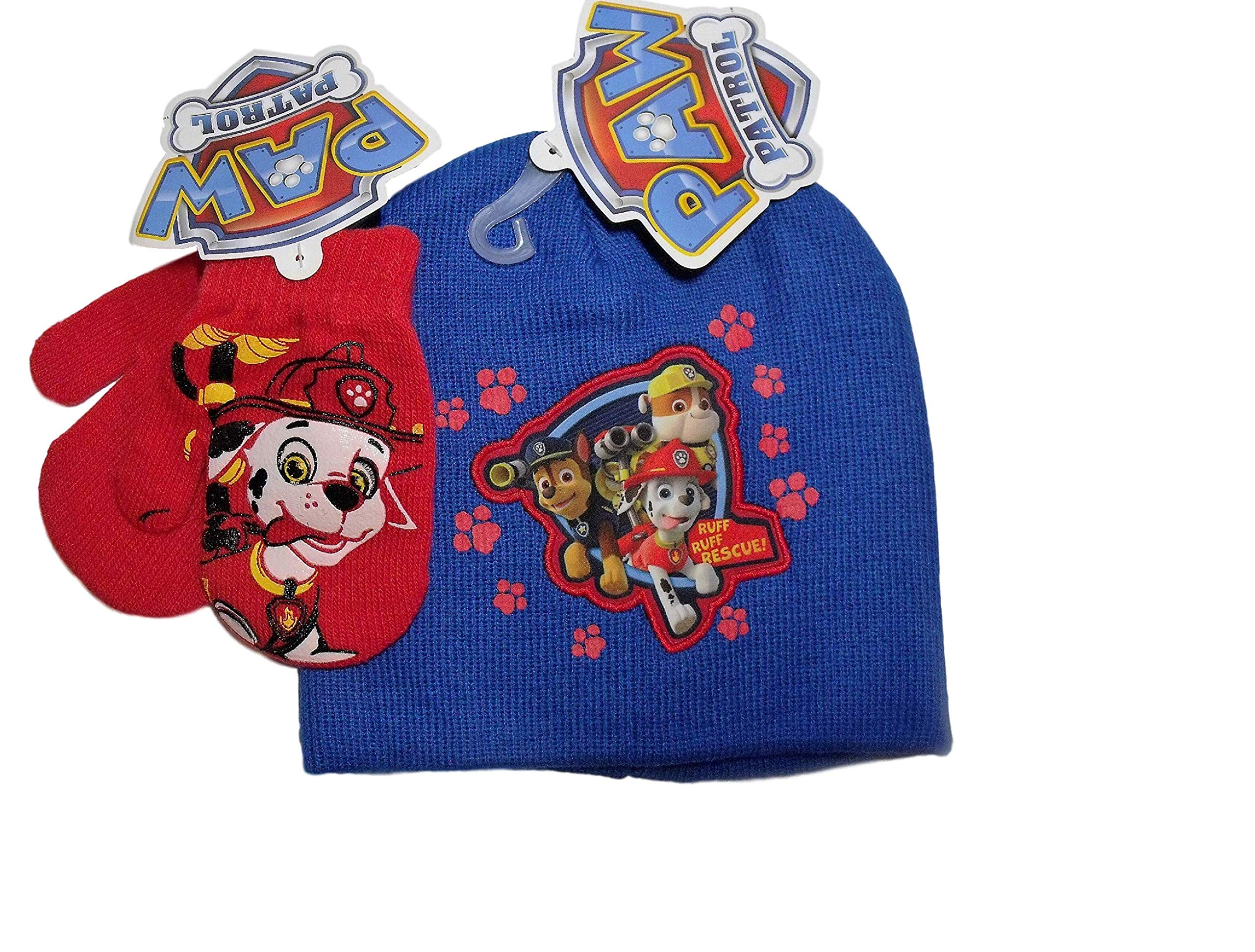 Paw Patrol Blue with Red Footprints Knit Beanie Hat Red Mittens Set