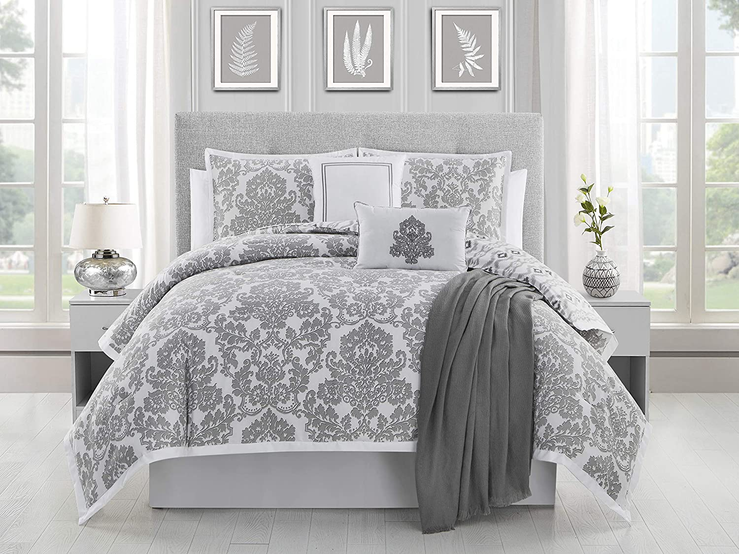 ELLEN TRACY Adalisa Bedding Set Queen Grey