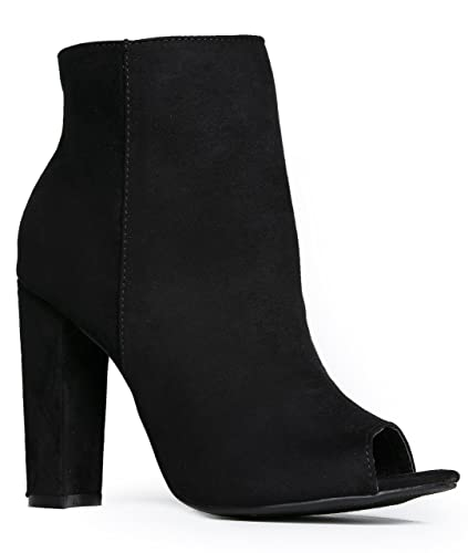 Peep Toe High Heel Boot - Sleek Leather Ankle Bootie - Classic Zip Up Boot - Easy Essential Everyday Shoe