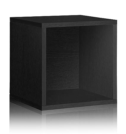 Way Basics Vinyl Record Storage Cube Stackable LP Record Album Shelf, Black  (worldu0027s Easiest