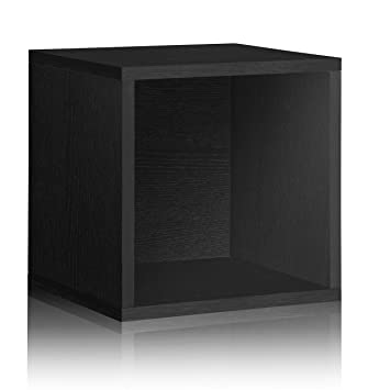 Vinyl Record Storage Cube Extra Large Stackable LP Record Album Shelf, Black