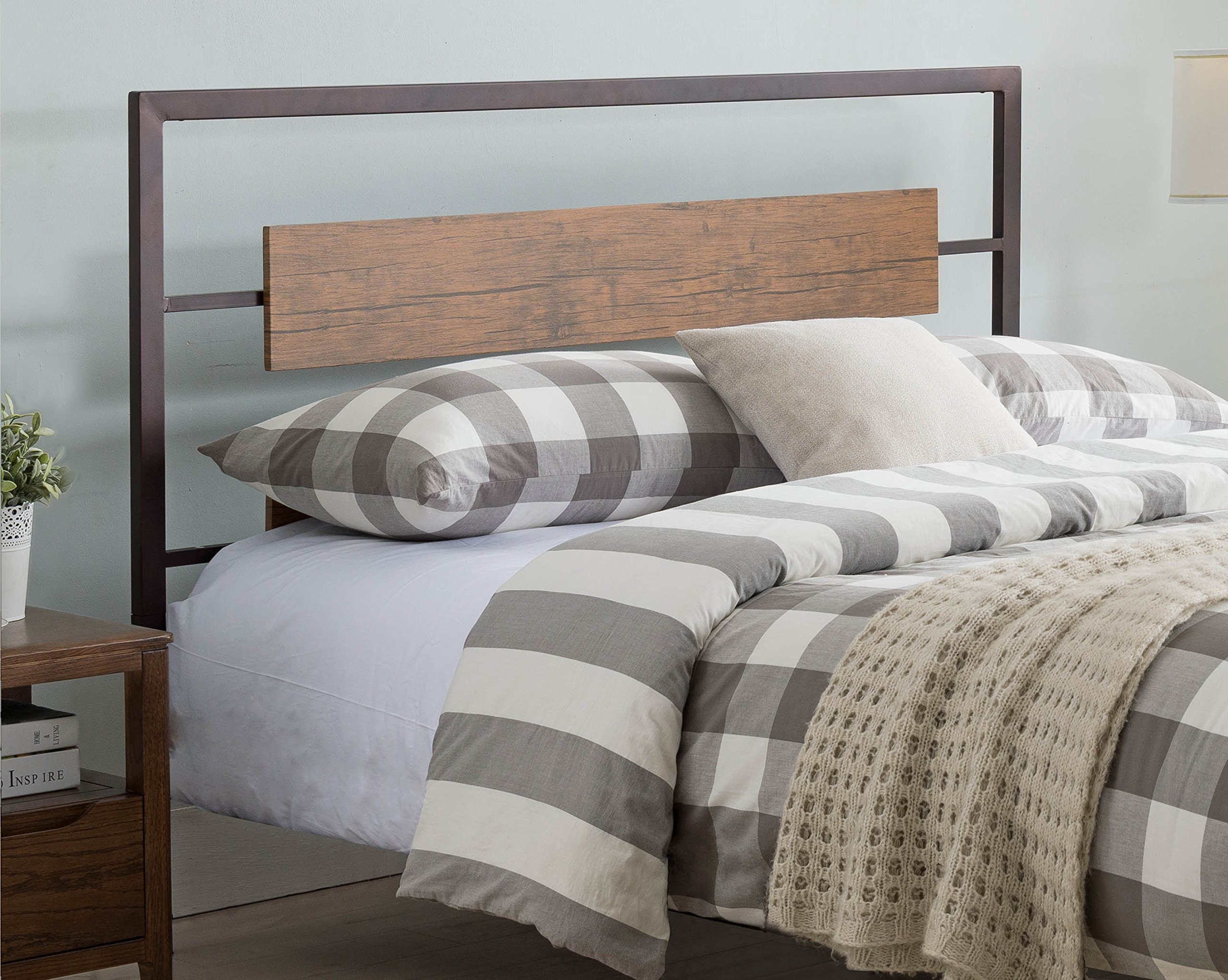 Kings Brand Furniture – Verona Pewter Metal/Walnut Wood Full Size Headboard