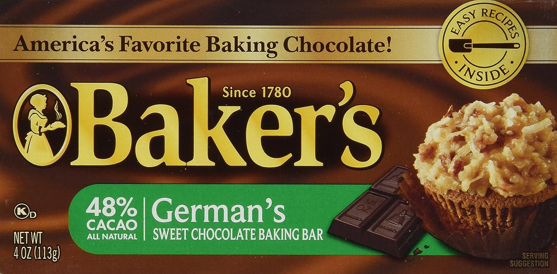 Amazon.com : Baker's, German Sweet Chocolate, Baking Bar, 4oz Bar ...
