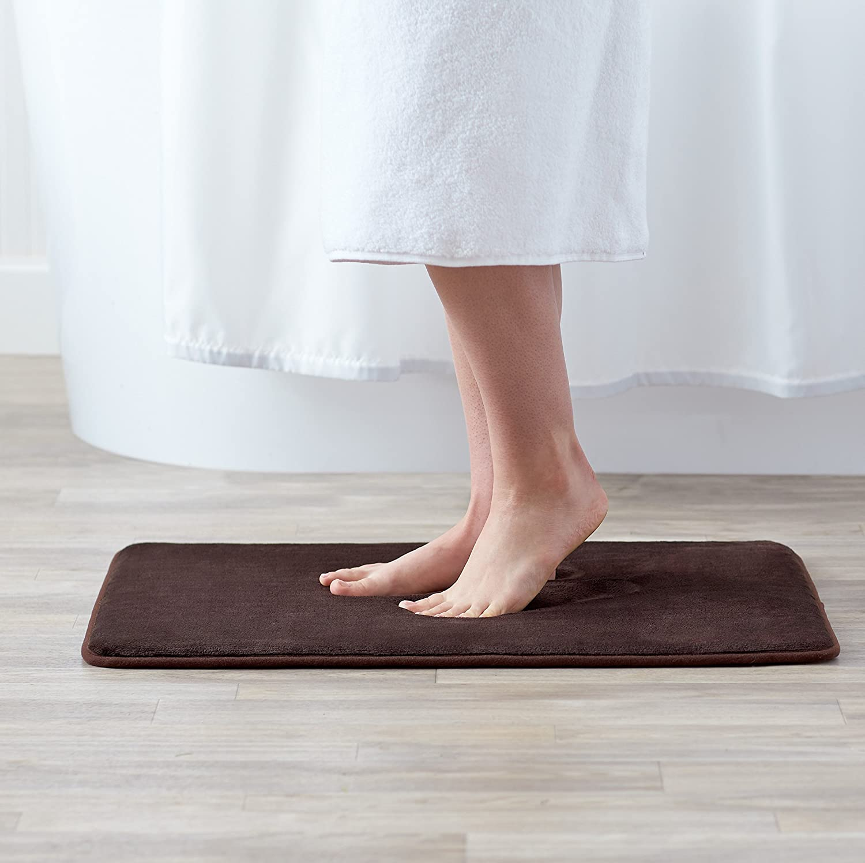 18 x 28 Inches Dark Brown Basics Non-Slip Memory Foam Bath Mat