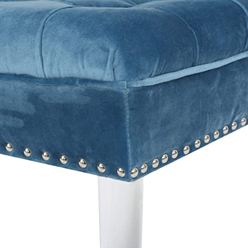 Christopher Knight Home Living Beatrice Tufted Top New Velvet Ottoman Aqua