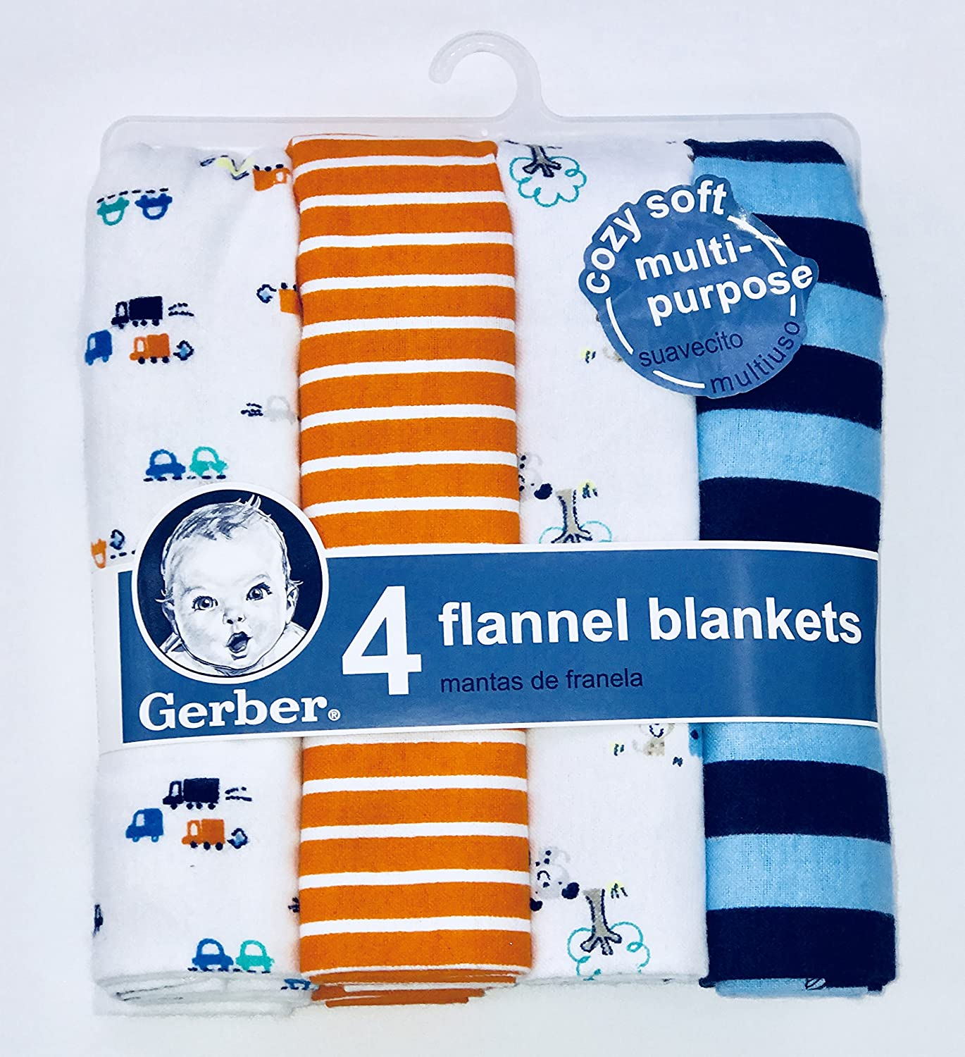 Gerber Newborn Baby Boy Assorted Flannel Receiving Blanket, 4-Pack free shipping