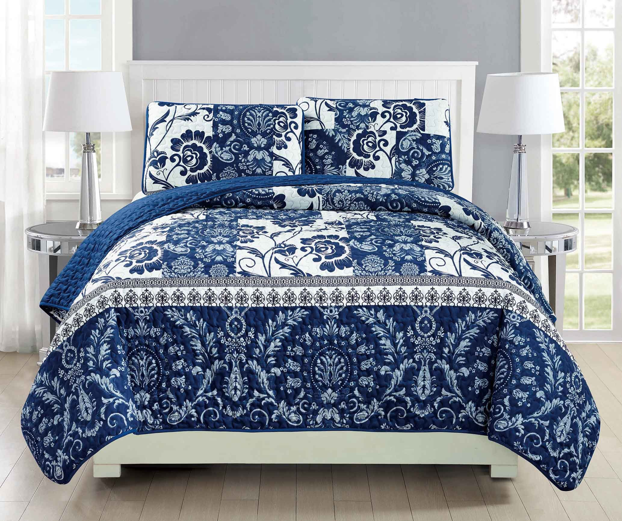 Mk Collection 3pc Bedspread coverlet quilted Floral White Navy Blue Over Size New #186 King/California King