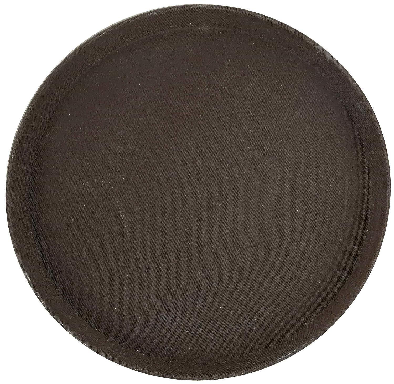 Winco Round Fiberglass Tray with Non-Slip Surface 11-Inch Brown