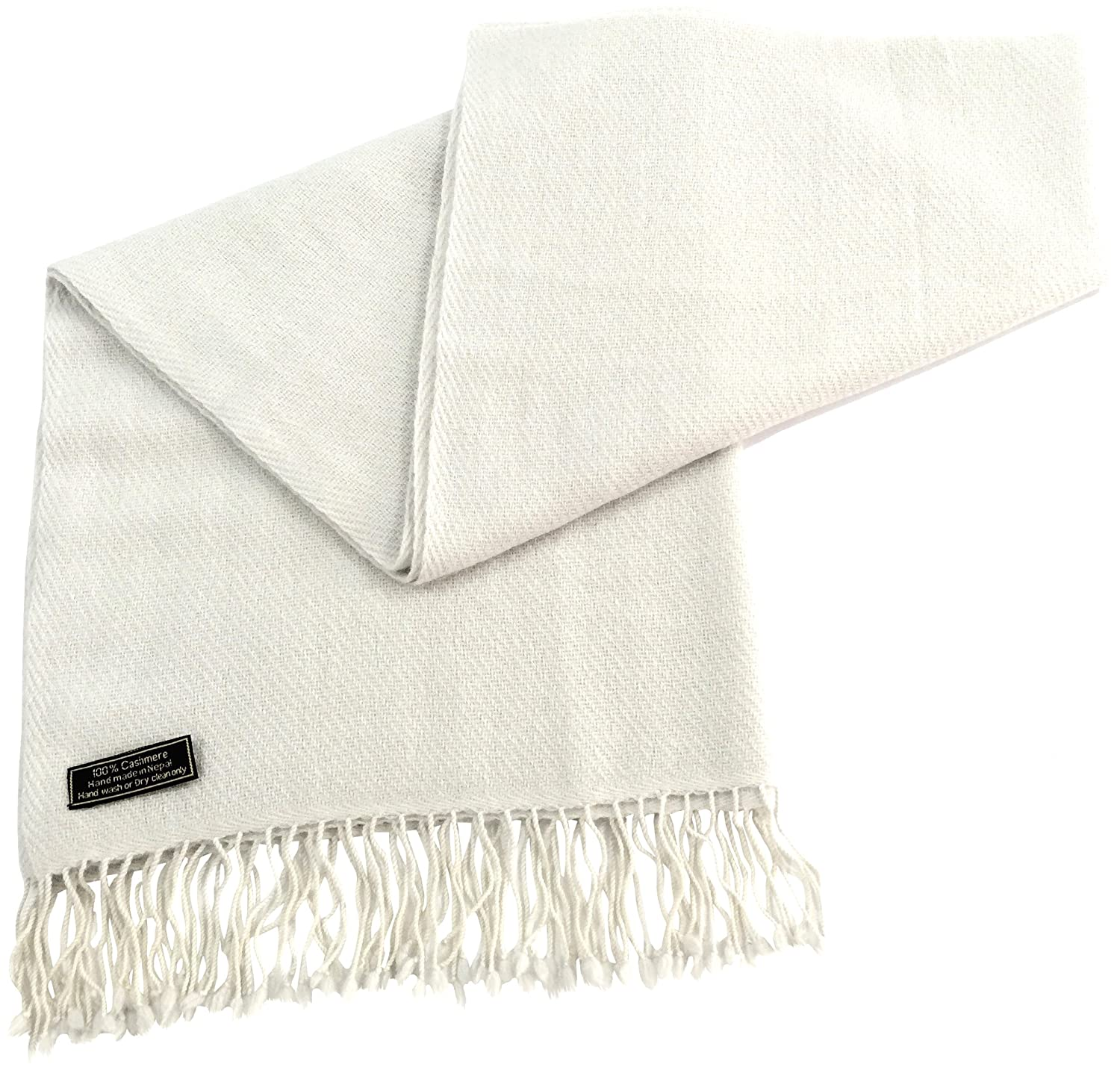 Ivory Beige High Grade 100% Cashmere Shawl Scarf Wrap Hand Made in Nepal NEW