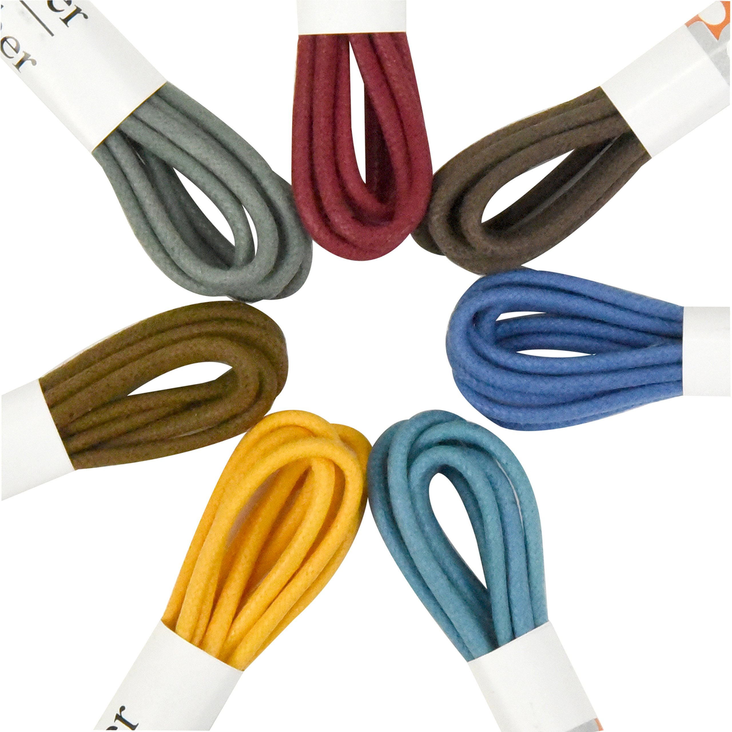 Brother Brother Colored Oxford Shoe Laces for Men (7 Pairs) | 100% Cotton Round and Waxed Shoelaces for Dress Shoes | Gift Box with Brown, Silky Violet, Burgundy, Mustard, Blue, Light Blue, Chocolate by brother brother (Image #4)