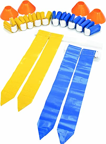 8 Belts with 16 Flags Red and Yellow Football Flag Set 8 per color