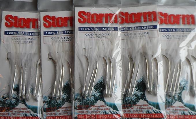 Sea Tech White Mackerel Feathers 3 Hook