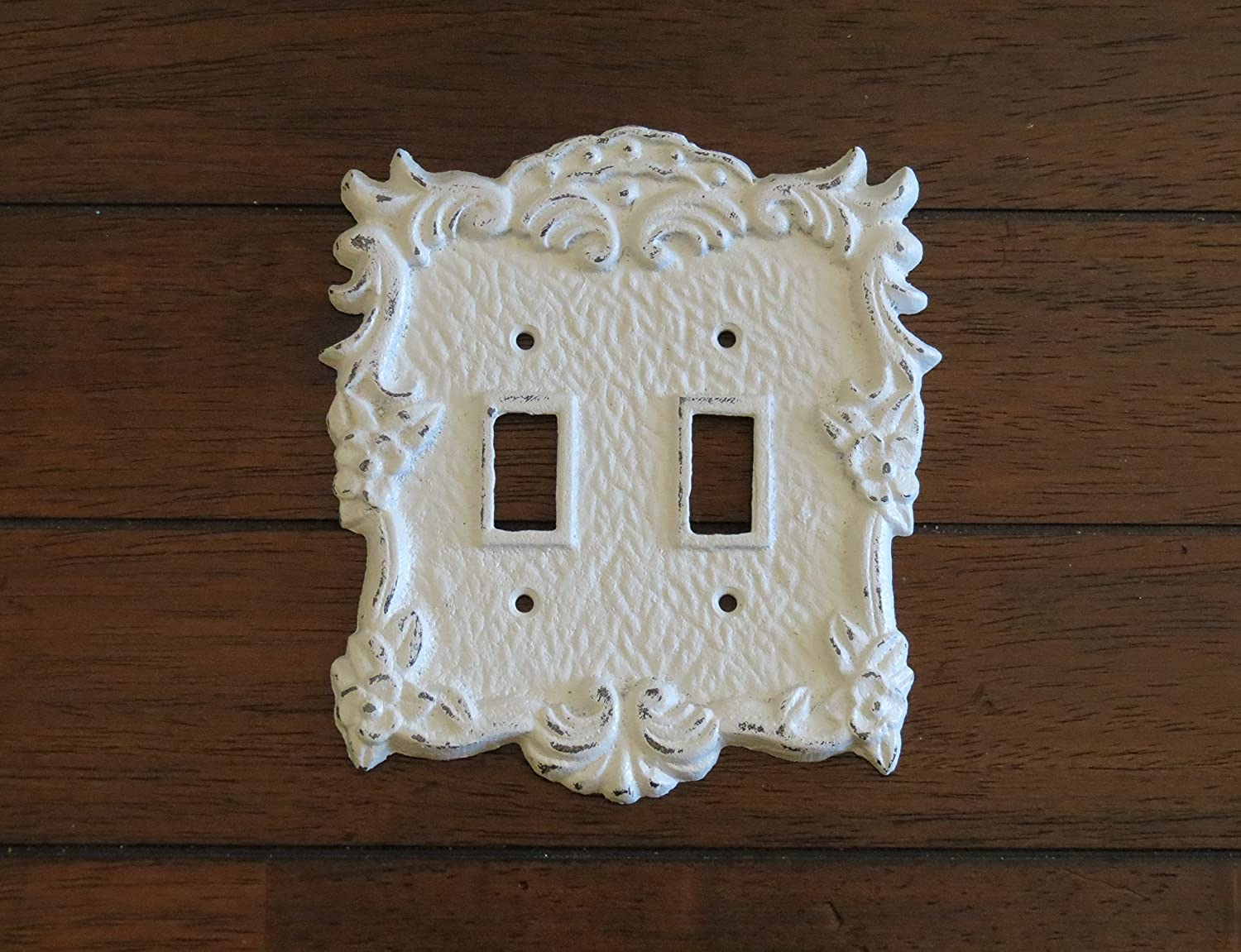 Antique White Switch Plate/Double Light Switch Plate/Antique White or Pick Your Color/Shabby Chic Style/Cast Iron Light Switch Cover