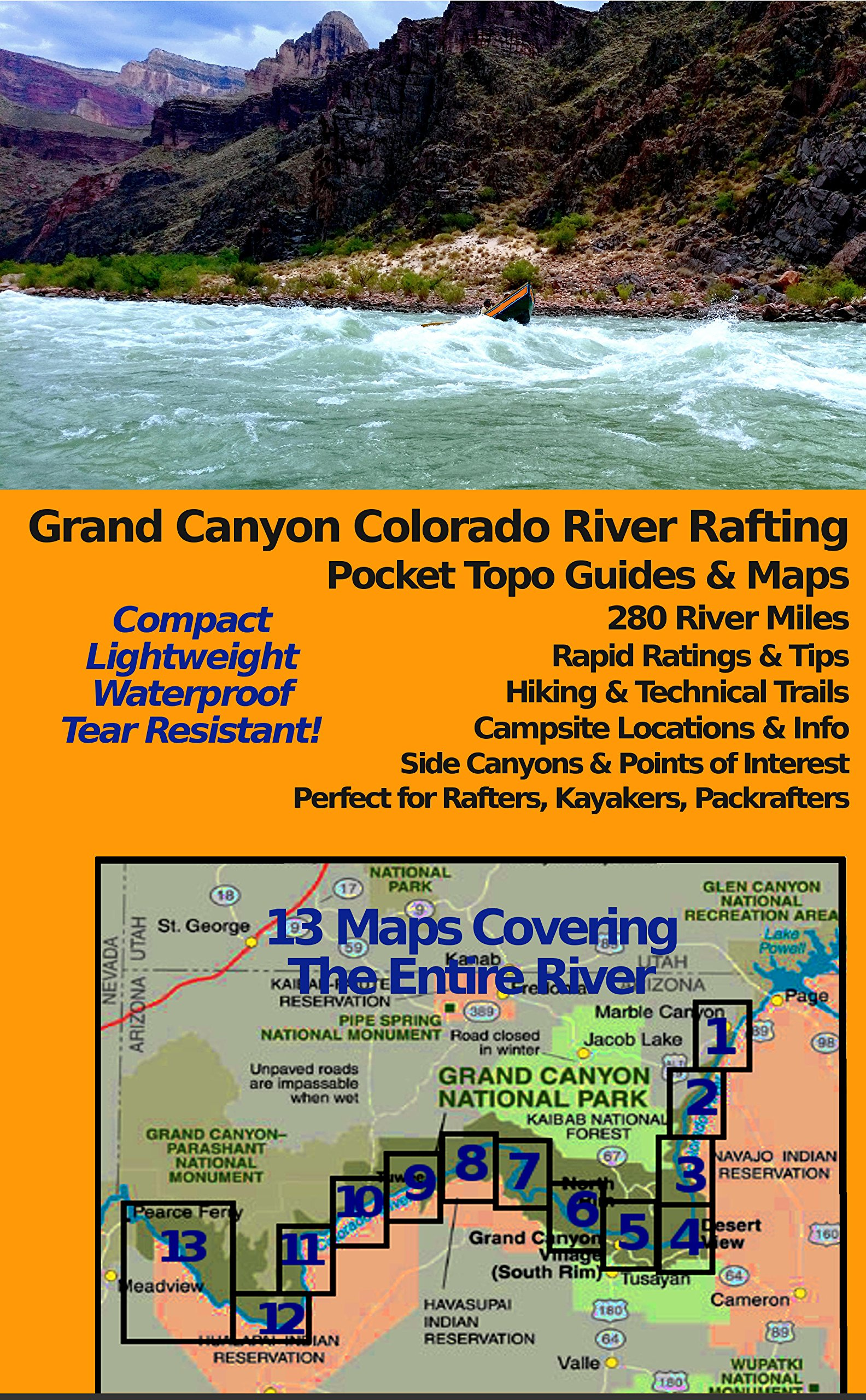 Grand Canyon Colorado River Rafting Pocket Topo Guides & Maps (12x18'' Tear-Resistant / Waterproof)
