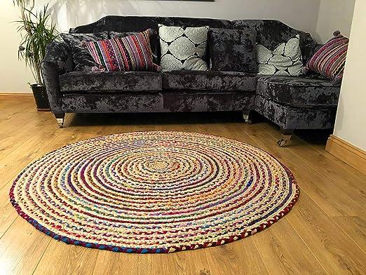 Alfombra grande redonda, trenzada, de algodón y yute, multicolor, chindi, de 150 cm: Amazon.es: Hogar