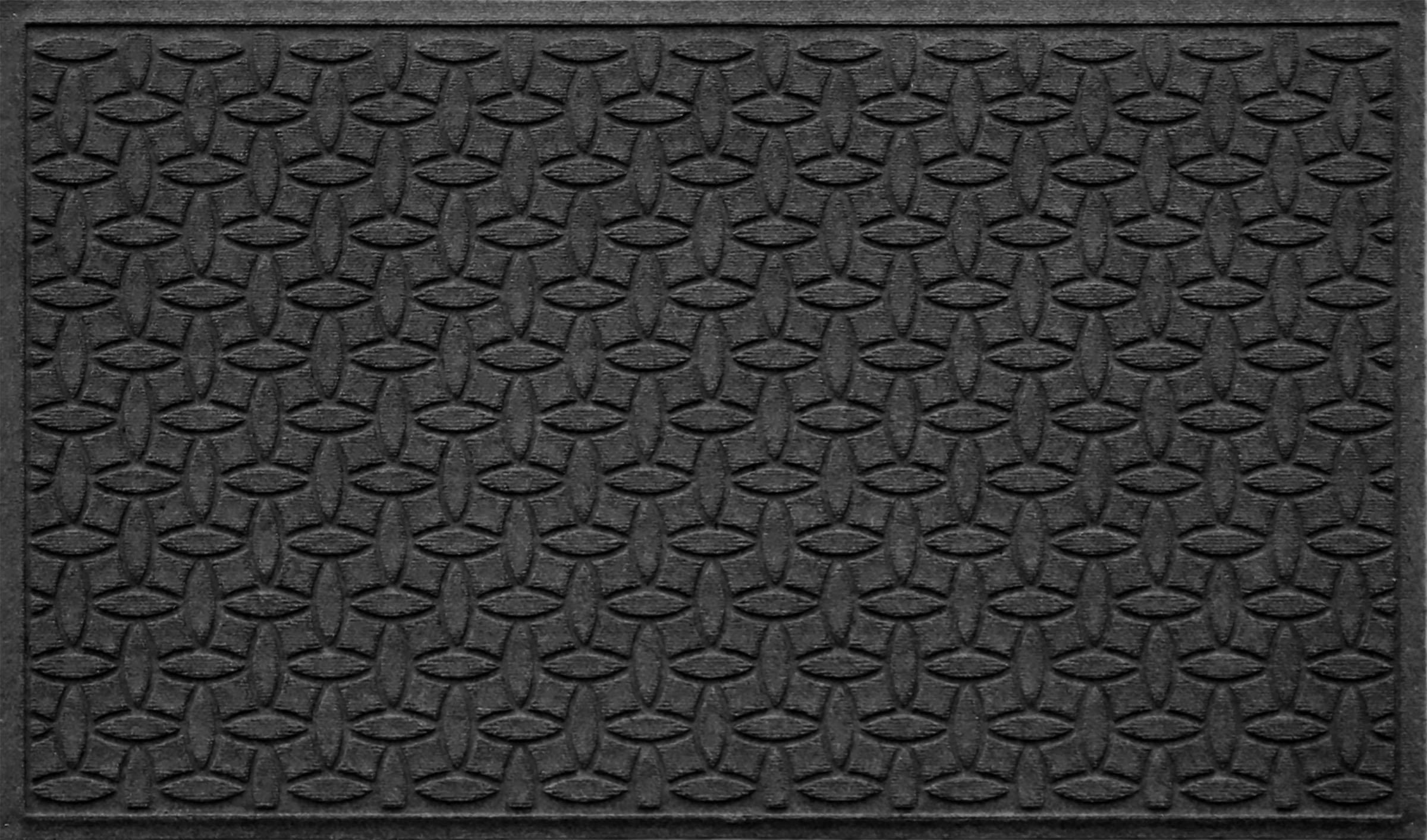 Bungalow Flooring Waterhog Doormat, 3' x 5', Skid Resistant, Easy to Clean, Catches Water and Debris, Ellipse Collection, Charcoal