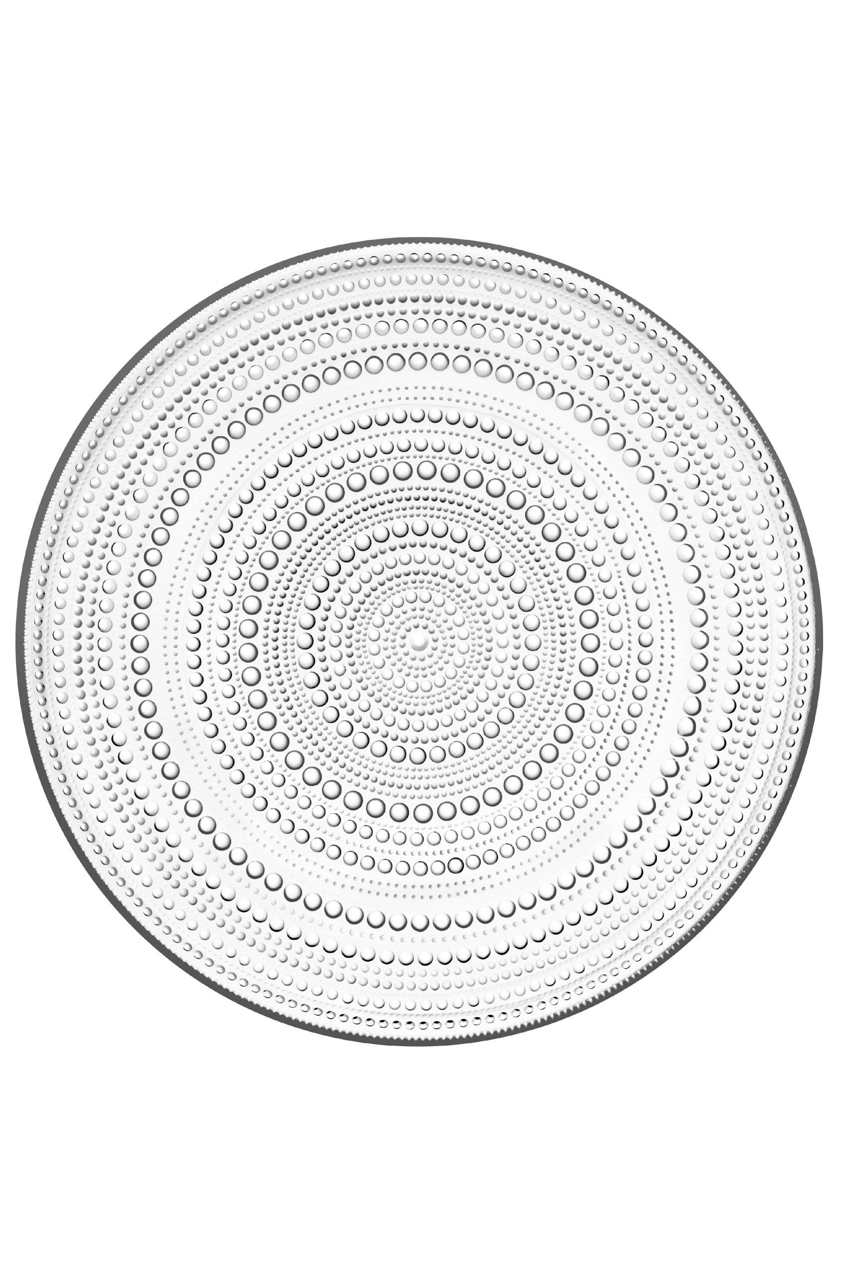 Iittala Kastehelmi Dew Drop Round Clear Glass Plate, 12-1/2-Inch Diameter