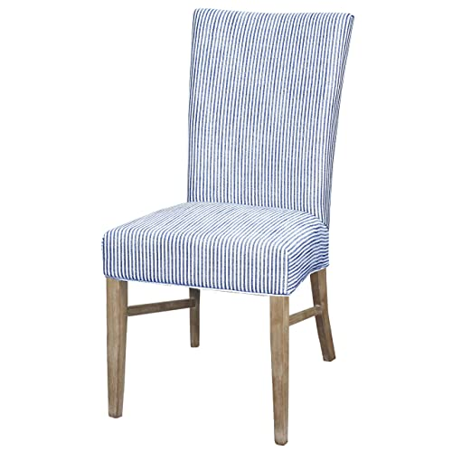 New Pacific Direct Milton Fabric Chair,Natural Solid Wood Legs,Blue Stripes,Set of 2