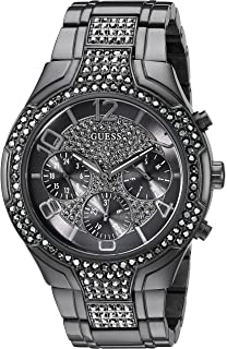 GUESS Womens U0628L5 Sporty Gunmetal Watch with Grey Dial , Crystal-Accented Bezel and Stainless