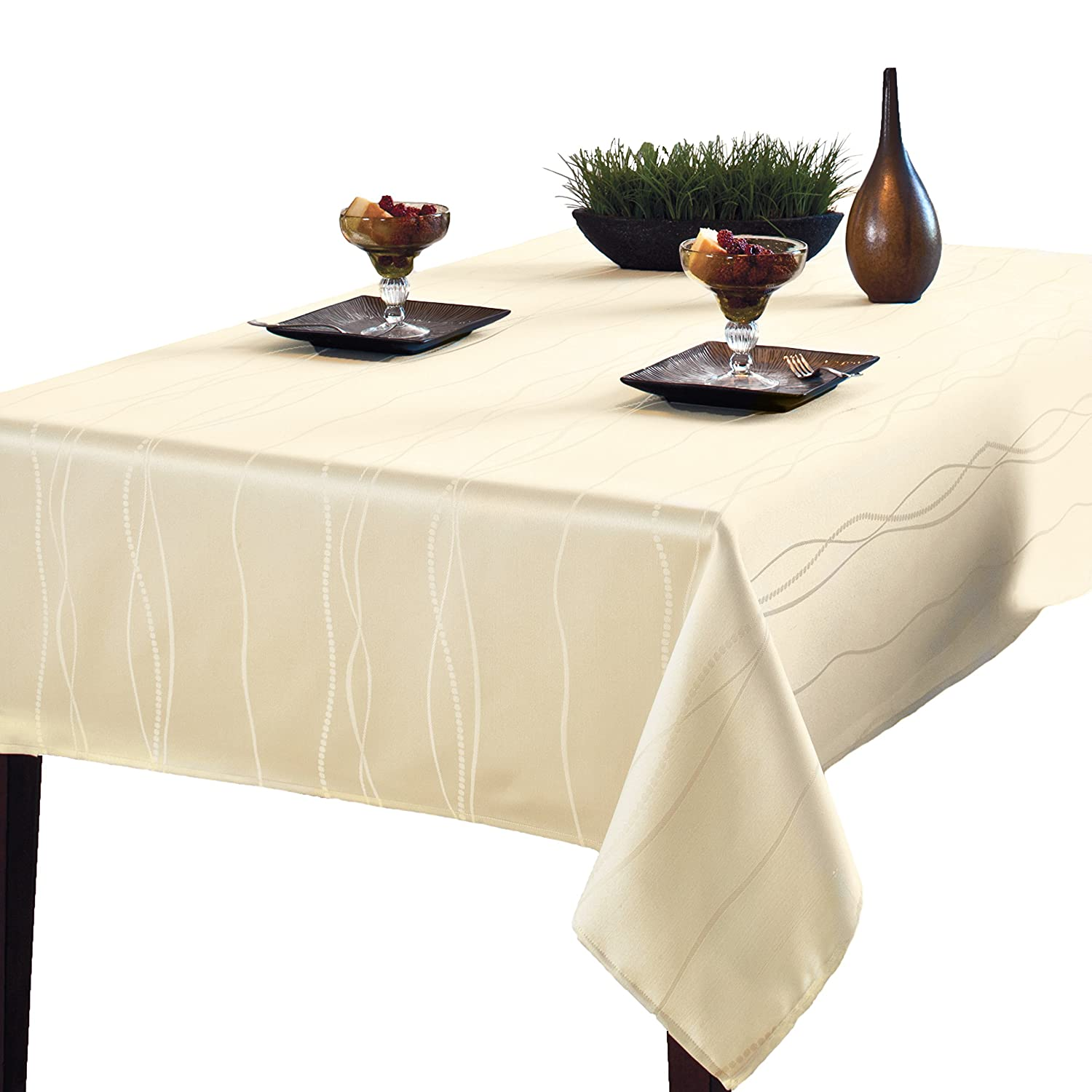 Genial Amazon.com: Benson Mills Gourmet Spillproof Fabric Tablecloth, Ivory,  60 Inch By 120 Inch: Home U0026 Kitchen