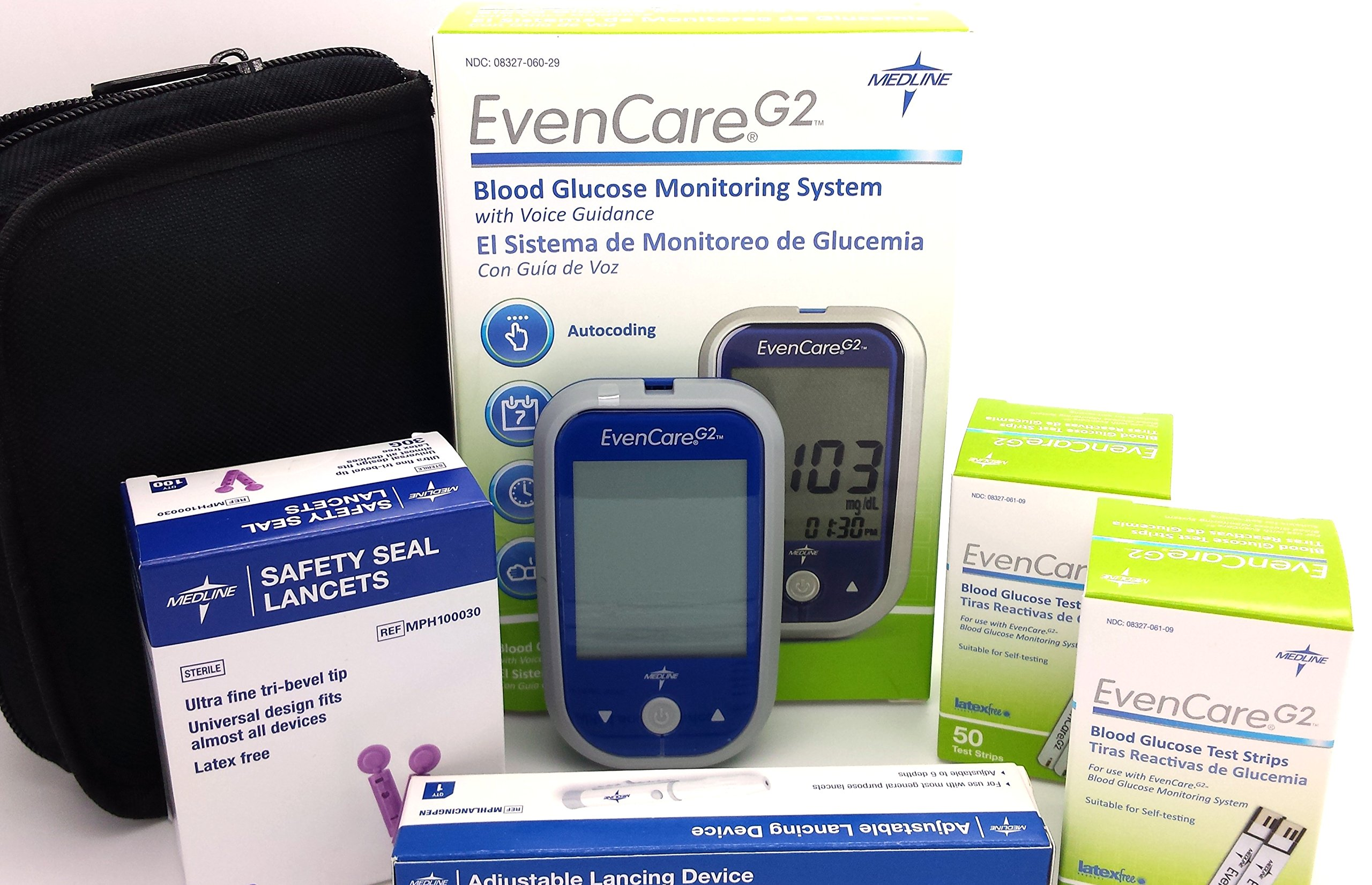Diabetes Testing Kit (EvanCare G2 Blood Glucose Monitoring System + 100 EvanCare G2 Test Strips + 100 Safety Seal 30g Lancets + Lancing Device) by EvanCare G2