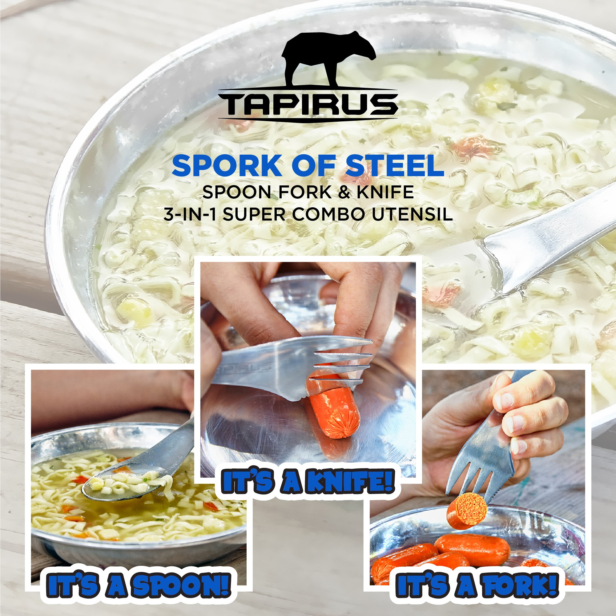 Tapirus 5 Spork Of Steel Utensils Set | Durable & Rust Proof Stainless Steel | Spoon, Fork & Knife Flatware | For Camping, Fishing, Hunting & Outdoor Activities | With Bottle Opener & Carrying Case by Tapirus (Image #2)