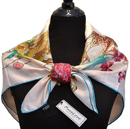 sciarpa 100% seta, bordi laminati a mano, lussuoso peso 12 momme, 90x90cm piazza