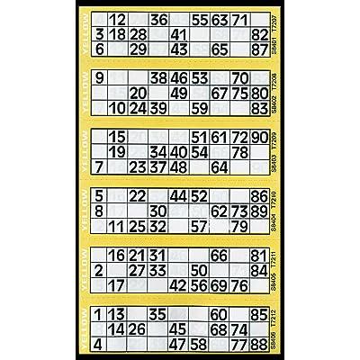 600 Tickets de Bingo Jaune - 6 Coussin pour afficher des Flyers: Electrónica