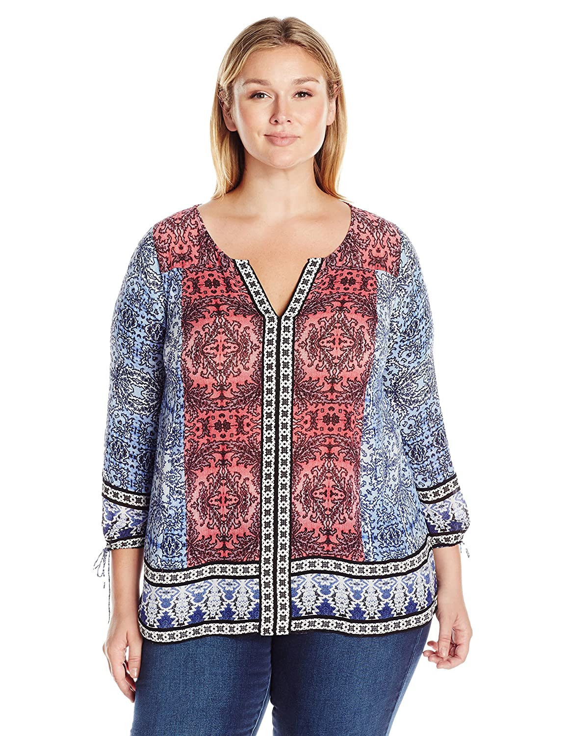 Lucky Brand Women's Plus Size Long Sleeve Top with Border Print