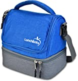 LunchBots Duplex Insulated Lunch Bag - Dual Section Design Fits LunchBots Uno, Duo, Trio, Quad, Rounds, Bento Cinco Perfectly - Roomy Thermal Lunch Bag for Kids and Adults - Royal