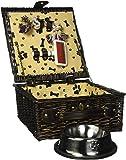 Dog Gift Basket with Dog Bowls, Dog Toy, Dog Brush - Puppy Picnic Dark Brown Wicker Basket