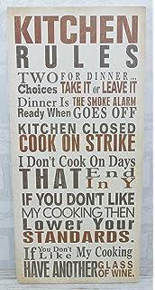 Plaque Kitchen Rules Sign Ex Large 48 Cm Sg1472