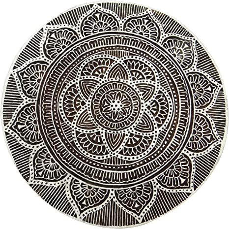 Decorative Blocks Floral Handcarved Stamp Wooden Textile Stamps Printing Block