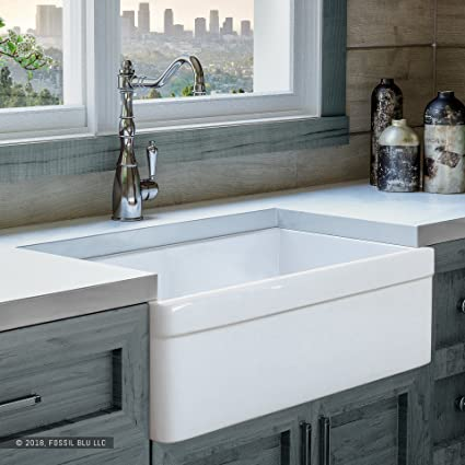 Luxury 30 Inch Pure Fireclay Modern Farmhouse Kitchen Sink In White