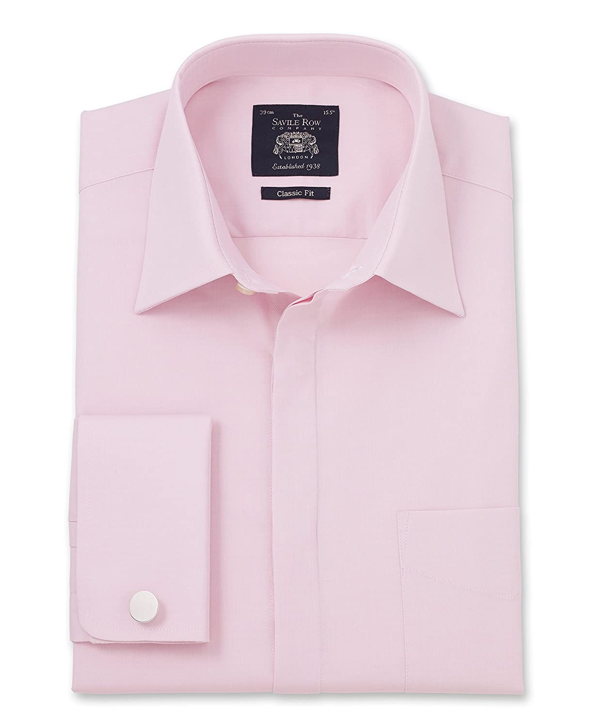 TALLA 38 cm Collar Doble Bofetada Estándar. Savile Row Men's Pink Dobby Classic Fit Shirt - Double Cuff