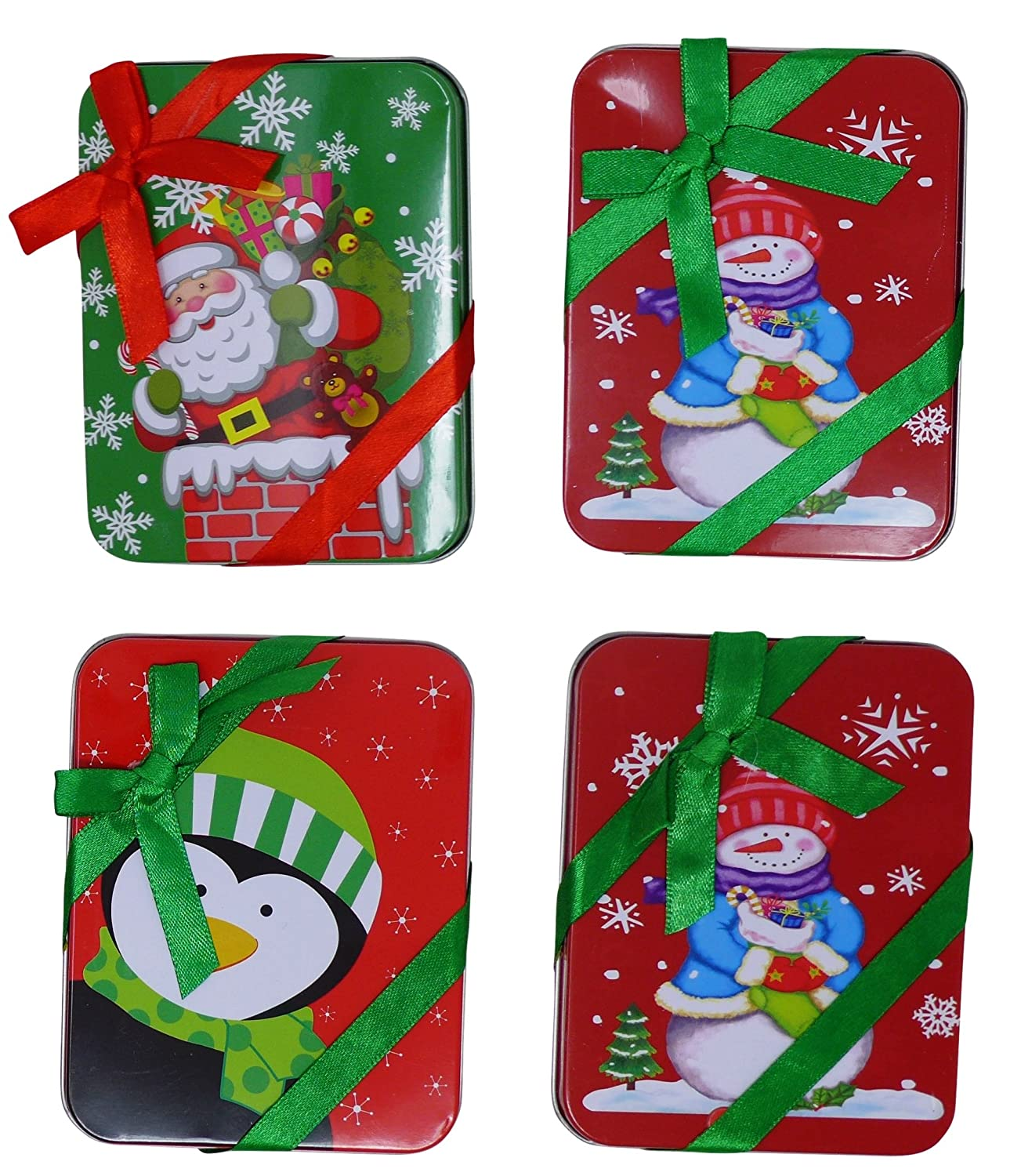 4 Christmas Gift Card Tin Holder With Ribbon (4.5\' X 3.5\') | Stylish Gift Card Boxes Set, Santa & Snow Man Gift Boxes Pride Products