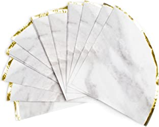 Sugar & Cloth Round Paper Napkins, Marble with Gold Edge, 32 Count