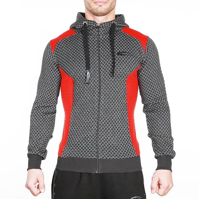 SMILODOX - Sudadera con capucha y cremallera para hombre, de corte ajustado e ideal para hacer deporte, ir al gimnasio, entrenar o para el tiempo libre: ...
