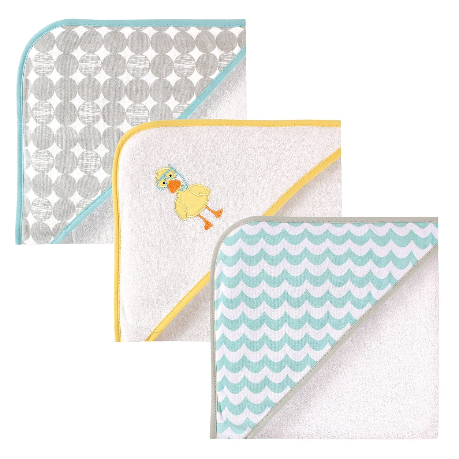 Luvable Friends 3 Piece Hooded Towels, Scuba Duck 30X30 Scuba Duck 30X30 BabyVision 05254_ScubaDuck